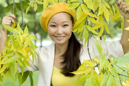 Girl walking in autumn park Stock Photo - 7955433