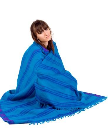 white blanket: Girl in ethnic shawl