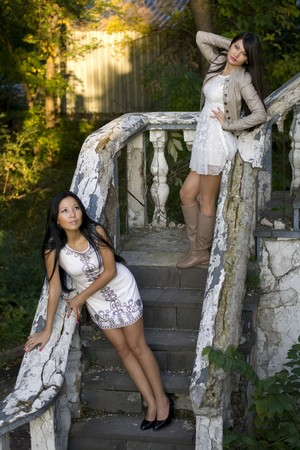 Two female friends standing on stairs photo