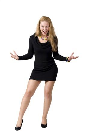 bitch: Mujer agresiva aislada en blanco