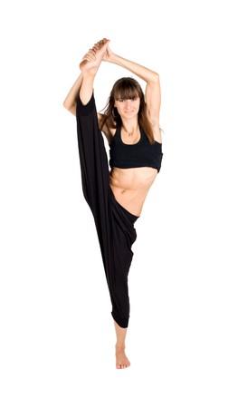 Girl doing the splits Stock Photo