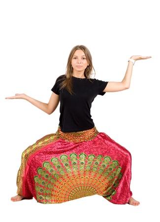Girl in ethnic clothes studio shot  photo