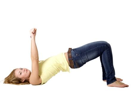 Sportive girl doing exercises Stock Photo - 8294887