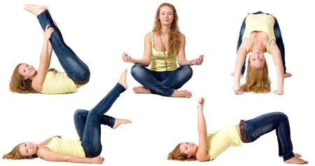 Sportive girl doing exercises photo