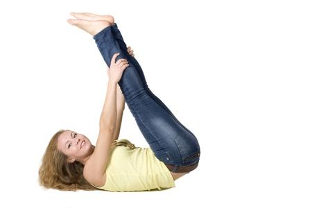 Sportive girl doing exercises Stock Photo - 8294892