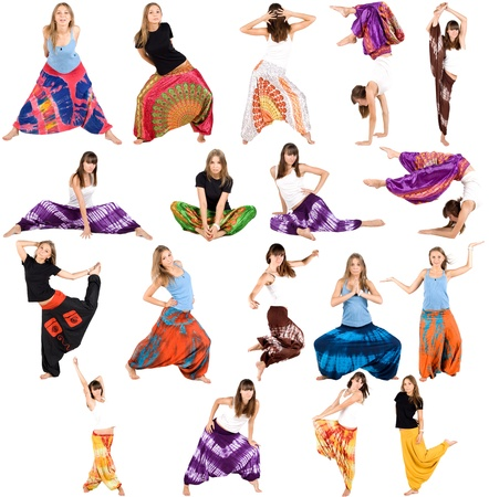 Sportive girls in ethnic trousers