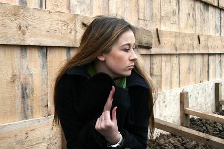 squatting: Chica viaja  Foto de archivo