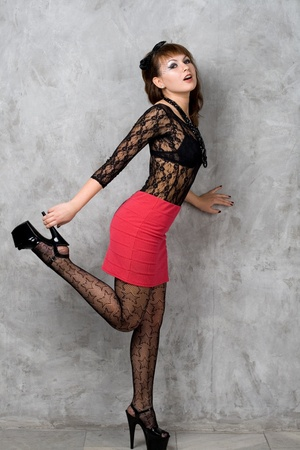 sexy stockings: Cute gothic girl  Stock Photo