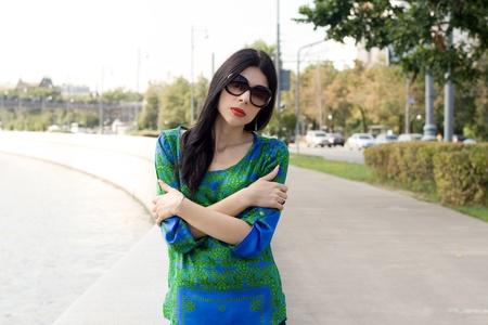City girl walking outdoor photo