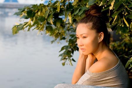 Girl walking outdoor in summer
