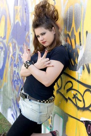 Punk girl walking outdoor