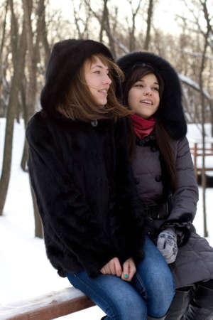 Two female friends walking in park in winter Stock Photo - 12469956