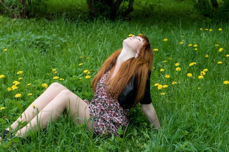 seductive expression: Girl sitting on a field of dandelions Stock Photo