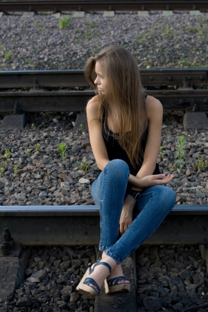 area sexy: Girl sitting on rails
