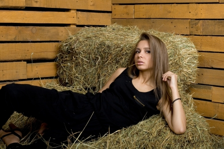 hayloft: Girl lying on hay
