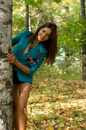 Beautiful girl in forest