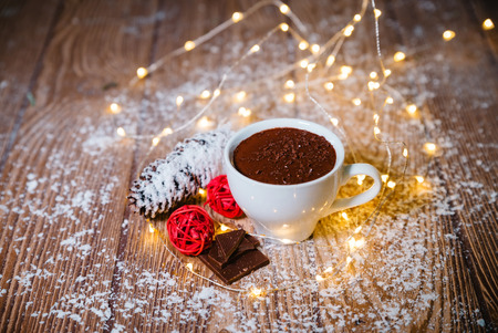Hot chocolate in a white ceramic cup Christmas Stock Photo