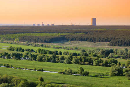 Nuclear power plant pollution green field Stock Photo