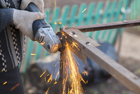 Angle Grinder Sparks Old Metal Stock Photo