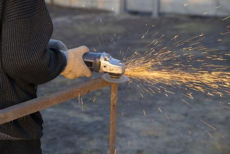 Angle Grinder Sparks Old Metal Stock Photo