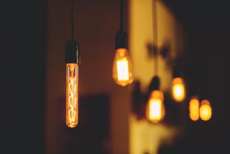 edison: Edison lamps hang Stock Photo