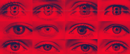 Set of eyes close-up red shadow blue duotone Stock Photo
