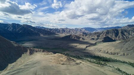 river flows along the mountains in Mongolia 写真素材 - 132231561