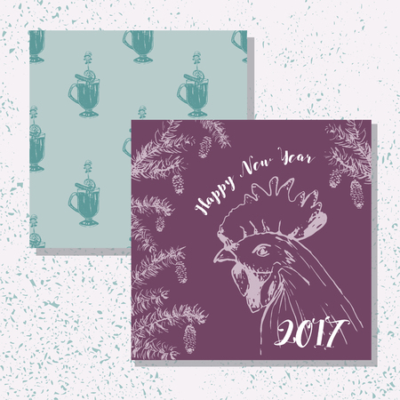 vin chaud: Greeting card with fir frame, cock and hot wine pattern. Happy New Year