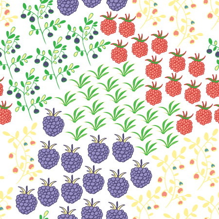 Seamless pattern with berries. Raspberry, blackberry, blueberry, bush and branch elements. Deep colors.  Usable for wrapping, textile.