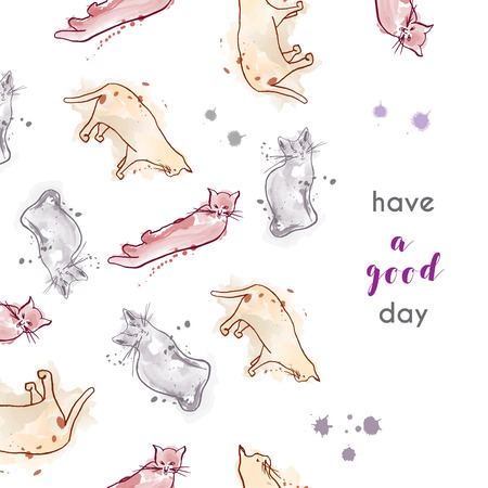 Greeting card with cats, soft colors with spots. Have a good day