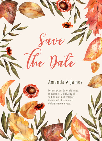 Invitation floral wedding card, watercolor bright leaves and branches elements. Autumn save the date card