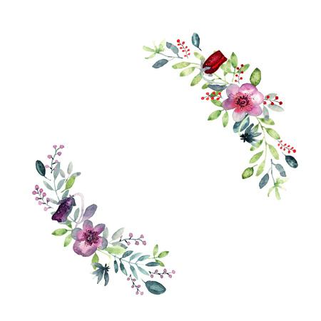 Wianek z elementami kwiatowymi, fioletowymi kwiatami bratka, zielonymi i fioletowymi liśćmi, jagodami. Luźna akwarela, miejsce na tekst