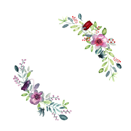 Wreath with floral elements, violet pansy flowers, green and violet leaves, berries. Loose watercolor, place fot text