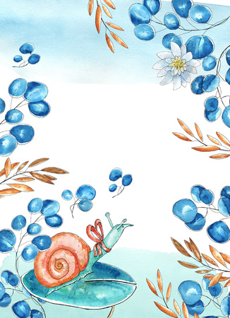 Watercolor greeting card. Floral  brown and blue branches, nice snail character with bow sitting on water lily leaf. Place for text