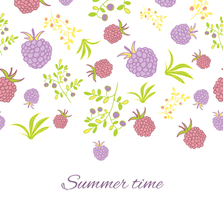 Greeting card with berries.  Raspberry, blackberry, blueberry, bush and branch elements. Deep colors design. Summer motif. Have a good day