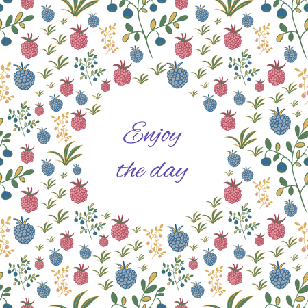 Greeting card with berries.  Raspberry, blackberry, blueberry, bush and branch elements. Summer motif. Enjoy the day Vettoriali