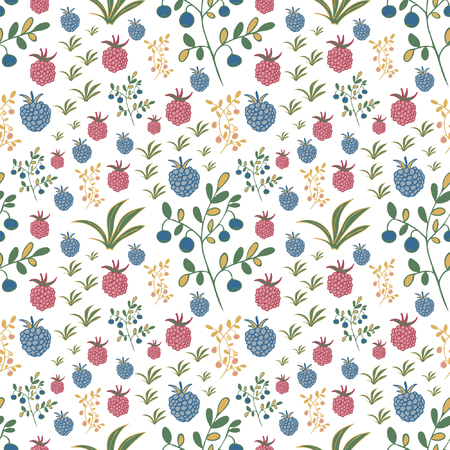 Seamless pattern with berries. Raspberry, blackberry, blueberry, bush and branch elements.  Usable for wrapping, textile.