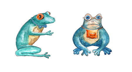 Couple of frog characters. Isolated clipart. Watercolor mixed media