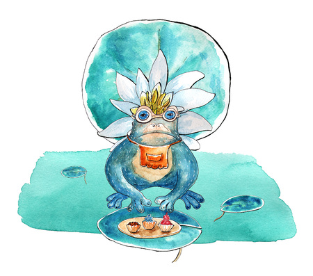 Frog characters sitting in swamp. Water lily flower and leaf, cupcakes elements. Isolated clipart. Watercolor mixed media