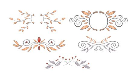 Collection of floral vignettes, hand drawn pencil style. Leaves, swirl, berry, floral elements. Gray, orange, reg shades Banque d'images