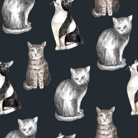 Seamless pattern with domestic shorthair black and white cats. Watercolor technique. Dark gray background