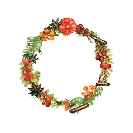 Ornate Christmas wreath. Berries, lemon, vanilla, cinnamon, bow elements. Watercolor technique