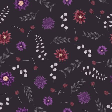 Autumnal floral seamless pattern. Purple, violet, pale gray flowers and branches. Digital painting. Dark background Zdjęcie Seryjne