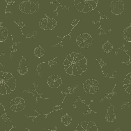 Autumnal floral seamless pattern. Pencil drawing of pumpkins and branches. Digital painting. Dark green background