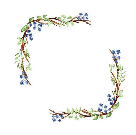 Elegant Christmas frame. Twigs, leaves, blue flower elements. Watercolor technique Stok Fotoğraf