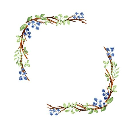 Elegant Christmas frame. Twigs, leaves, blue flower elements. Watercolor technique Фото со стока