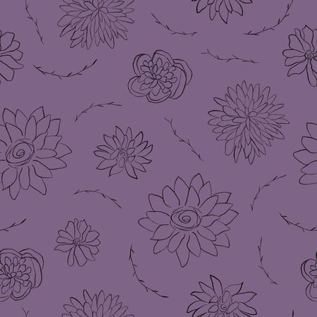 Autumnal floral seamless pattern. Pencil drawing of flowers. Digital painting. Dark background 写真素材