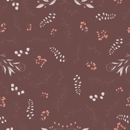 Autumnal floral seamless pattern.  Red berries, vignettes, gray branches. Pencil drawing, digital painting. Dark background