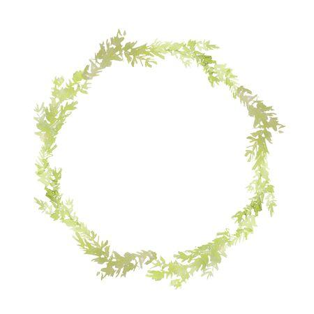 Simple christmas wreath. Pale fir branch elements. Watercolor technique
