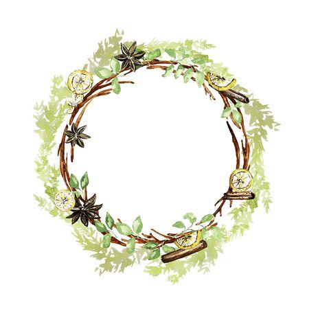 Ornate Christmas wreath. Twigs, lemon, vanilla, cinnamon, fir elements. Watercolor technique